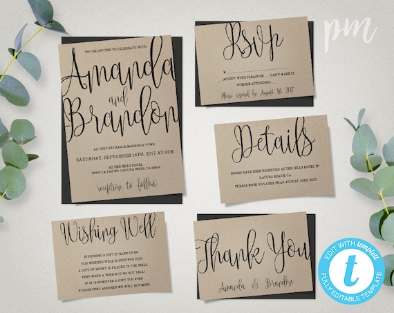 Wedding Invitation Free Download Software: Wedding Invitation Template Suite Calligraphy Script