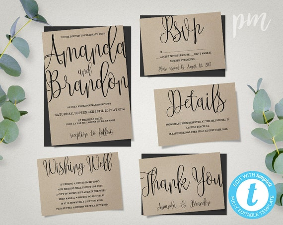 Wedding Invitation Suite Templates: Wedding Invitation Template Suite Calligraphy Script