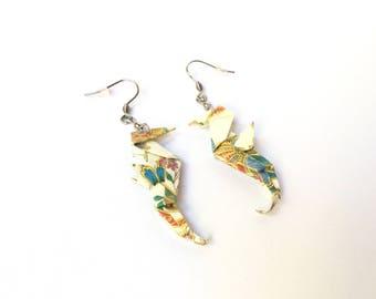 Seahorse earrings, origami, origami jewelry origami, stainless steel hook Earrings