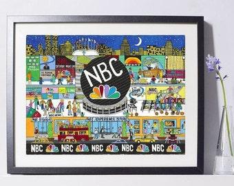 New York Art - NBC Art Painting - New York Gift - NYC Art Print - Pat Singer's New York