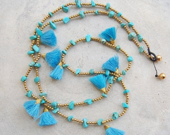Mini Blue Tassel Necklace with Turquoise Stone Beads
