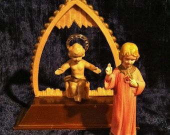 Vintage 1950's Young Christ Sacred Heart And Baby Jesus Statue Set