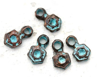 Hexagon charms Verdigris Green patina jewelry charms Greek metal casting beads geometry charm 11x6mm - 6Pc - 0729