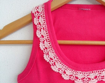 Womens Top, Crocheted Lace Shirt, Cotton Shirt, Fuchsia And Soft Powder Pink Spring Fashion