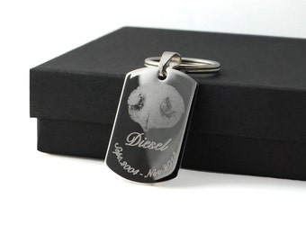 Actual Pet paw or nose print stainless steel dog tag keychain or pendant Unisex gift • Personalized custom memorial keepsake Dogs and Cats