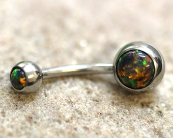 Black Fire Opal Navel Ring Belly Bar - UK Seller