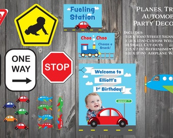 Planes, Trains & Automobiles Party Decor Package for Child's 1st Birthday
