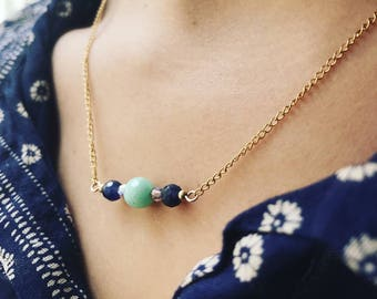 Fleur-de-lis necklace / / 14 k Gold Filled and gemstone beads
