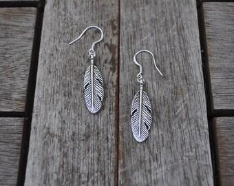 Zamak large feather earrings