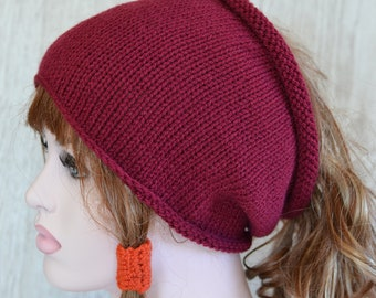 Maroon Burgundy Unisex Knitted Dreads Tube Hat Small Medium Large,  Dread Wrap Sock, Afro Hat, Grey Stone