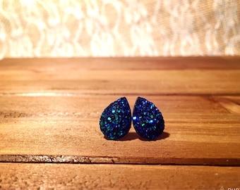 Bridal Earrings - Teardrop Blue Druzy