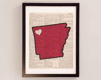 Arkansas Razorbacks Dictionary Art Print - Fayetteville Art - Print on Vintage Dictionary Paper - University of Arkansas Print - Hogs