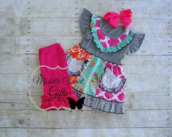 Shorties Outfit, Ruffle Shorts, Shorties, Back to School, Baby, Girls, Toddler, Boutique Set, Birthday, 2T, 3T, 4T, 6, RTS, Pink
