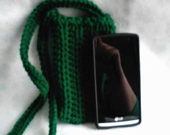 Crocheted Green Cross Body Cell Phone Pouch Cozy