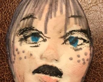 Handmade clay face  goddess  round woman doll head    jewelry craft supplies  cabochon spirit mosaics dolls jewelry craft