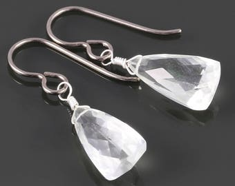 Crystal Quartz Earrings. Titanium Ear Wires. Unique Triangle Shape. April Birthstone. Genuine Gemstone. Lightweight Earrings. s17e010