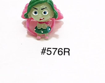 2/3/5 pc Inside Out Disgust Full Body Resin Flat back Cabochon Hair Bow Center