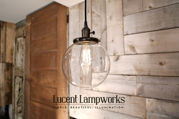 Clear glass globe pendant fixture 8 inch mozeypictures Image collections