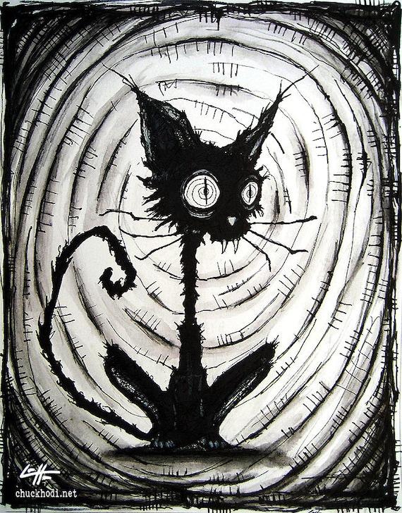Print 8x10 black cat 3 halloween cats stray spooky