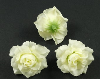 Set of 10 artificial flowers without stem diameter. 40mm - cream