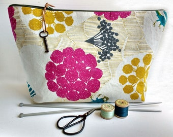 Large Zipper Pouch, Echino Zip Pouch, Yellow Pouch, Pink Pouch, Floral Pouch, Vintage Key Pouch, Gift for Her, Extra Large Pouch, Blue Tits