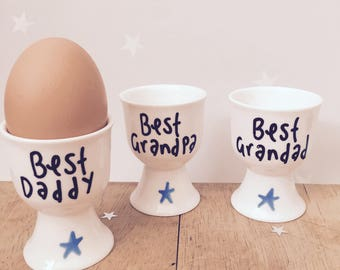 Egg cup, Personalised Egg Cup, gift for dad, fathrrs day gift, daddy egg cup, custom egg cup, gift for him, dad egg cup,