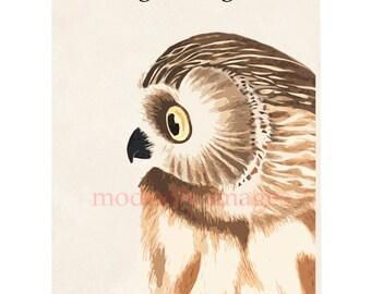 Little Owl, Handmade greetings card, Birthday card, artist card, personalised card, handmade card, Greetings Card, Fine Art card