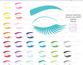 Eyebrow Icon with Closed Eye Digital Clipart in Rainbow Colors - Instant download PNG files - PLUS white icon