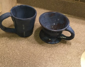 Handmade stoneware coffee pour and mug set in blue