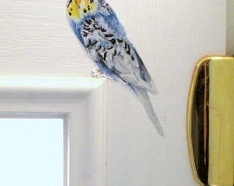 Budgie wall sticker, bird wall decals, budgie gifts, budgerigar illustration, bathroom decor, quirky wall decals, bird wall decor