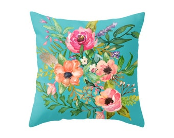 Pastel Florals with Blue background - Accent Pillow Cover - Throw Pillows - Decorative Pillows
