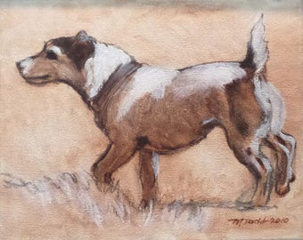 Plucky Jack Russel - 8 x 10 inch original oil painting by Martha Dodd