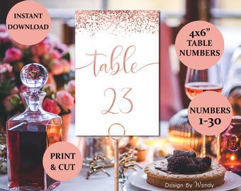 Rose gold calligraphy wedding table numbers 1-30, 4x6 inch table numbers confetti printable wedding place cards instant download wedding RG1