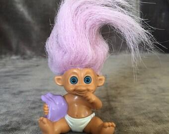 Vintage baby troll TNT 92' purple hair doll
