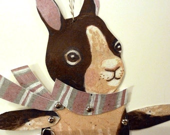 DIY Cute Bunny Paper Pupppet & Heart Mitten Card Set for Kids, Paper Play, Fun, Woodland Animals, Brown Pink, Gray