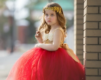 Red Flower Girl Dress, Red Tutu Dress, Red Tulle Dress, Red Dress, Red Wedding, Red