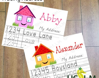Kids Address Tracing Worksheet, Learn your Address, I know my address, Practice sheet, Learn to write, Teachers Resources, Learning Activity