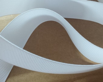 7/8 inch white grosgain