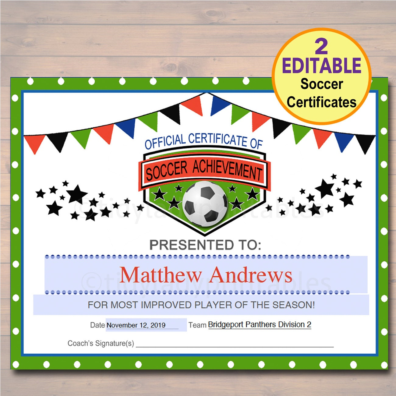 Editable soccer award certificates instant download team zoom xflitez Gallery