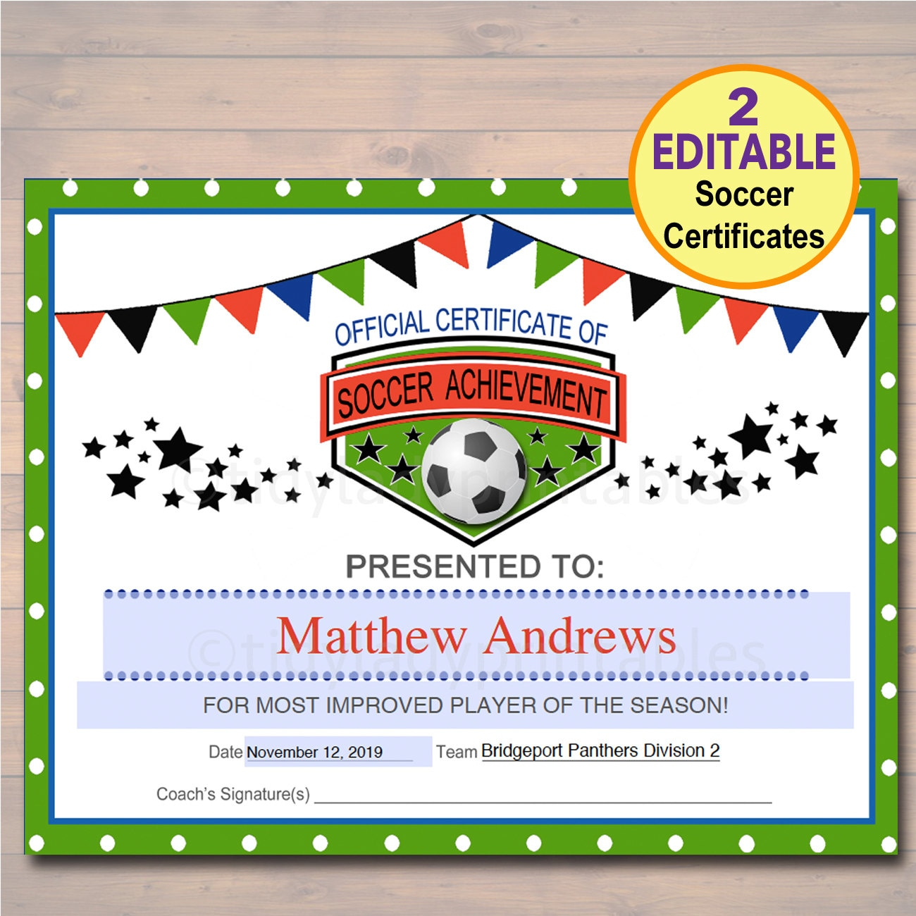 Editable soccer award certificates instant download team zoom alramifo Image collections