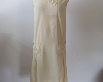 c.1920s Buttercup Yellow Rayon Summer Dress