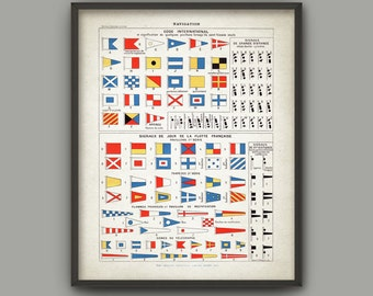 International Maritime Signal Flag Print - Vintage Ship Communication - Sailing Signals Poster - Navy Banners - Navy Telegraph Signals
