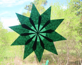 10 Point Emerald Green Waldorf Inspired Window Star