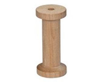 "10- Large Wooden Thread Spools 1-1/4"" x 2-3/4"""