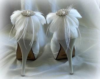 Wedding Shoe Clips, Feather Shoe Clips, Ivory Shoe Clips, White Shoe Clips, Clips for Wedding Shoes, Bridal Shoes, Designer ShoeClipsOnly