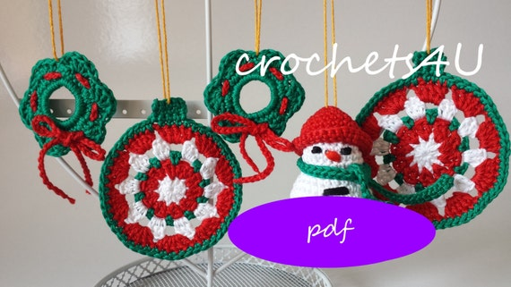 3 Crochet Patterns Christmas Bauble Wreath Snowman Crocheted