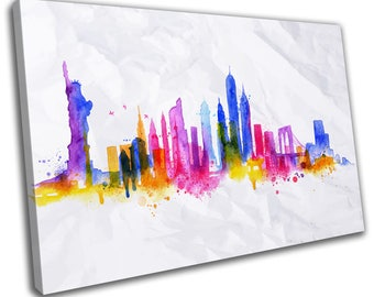Watercolour New York Skyline Cityscape Canvas Print Home Decor- Abstract Wall Art - Modern Prints - Ready To Hang