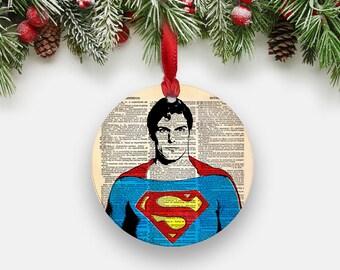 SUPERMAN Christmas Ornament, Round Aluminum Circle Holiday Tree Ornament, Inspirational Gifts for Men Boys Boss Teachers, Stocking Stuffer