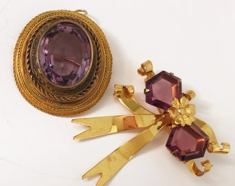 Lot of 2 Vintage Brooches/Pins/Pendants Gold Overlay Purple Stones