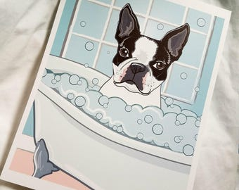 Bathtub Boston Terrier - Eco-Friendly 8x10 Print on Linen Paper